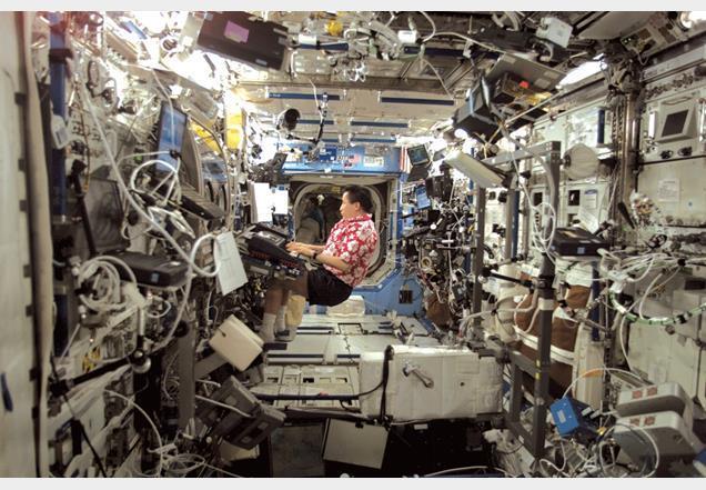 Inside International Space Station Sleeping